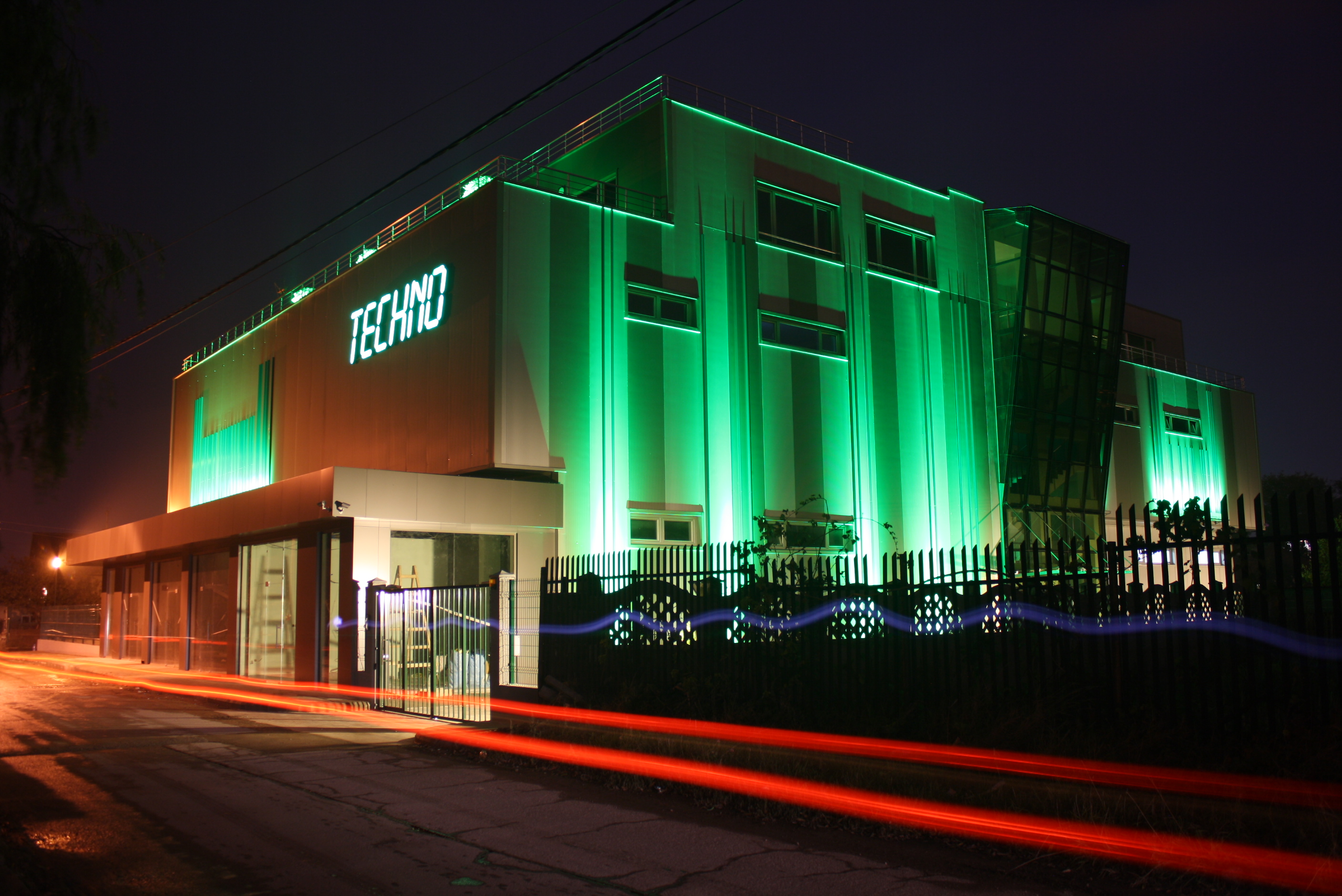 LED Facade green light